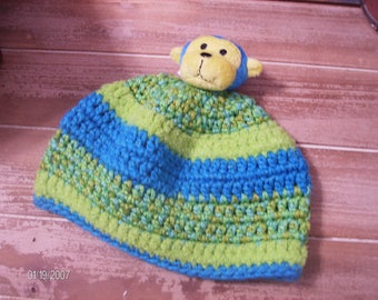 Crochet Baby Winter Monkey Hat sized to fit 12 to 18 months
