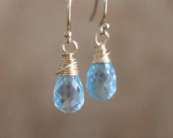 Topaz Earrings, Gemstone Earrings, Gift for Wife, Drop Earrings, Mom Gift, Blue Topaz Earrings, Dangle Earrings, November Birthstone Gift