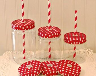 Plastic Mason Jar, 10 Mason Jars with POLKA DOT Jar Lids with Straw Holes and Grommets, Mason Jar Cups, Christmas Favors, Wedding Favors,