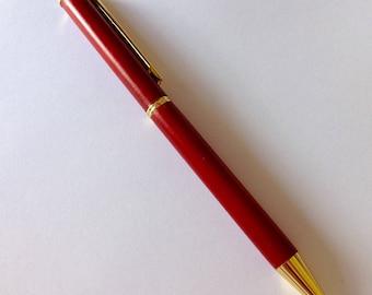 Wood Slimline Pen Redwood Hand Turned Goldtone Hardware