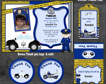 Police Invitation,  Police party, Police birthday,  Police invite,  Police party theme cops and robbers police thank you tag