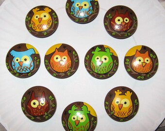 OWLS On BROWN KNOBS - Set of 10 - Hand Painted Drawer Knobs/Pulls