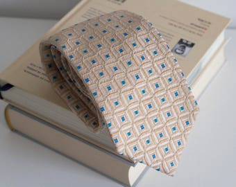 Vintage silk tie, geometric mens necktie, jacquard silk neck tie, cravat cravatte / classic cream beige blue