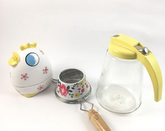 Vintage retro kitchen set, flower metal sifter, Ekco kitchen gadget, yellow syrup pitcher, kitschy salt shaker,  colorful kitchen, retro