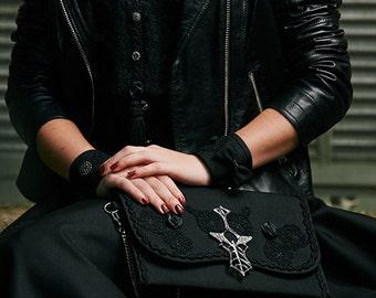 Black Silk Lace Clutch Bag Spoon Absinthe - La Fée Verte Alchemy + Steampunk Cuff Bracelets