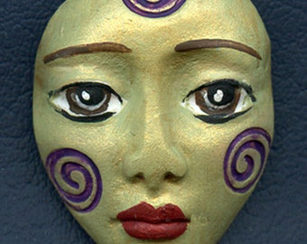 Polymer Clay One of a Kind  Spirit Doll Abstract Textured  Face Cab   Un Drilled SF 9