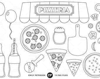 50% OFF SALE! Pizza Party Digital Stamps, Pizza Line Art, Pizzeria Clip Art - Commercial Use, Instant Download