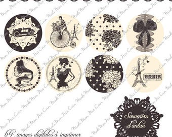 """Digital images for cabochons """"Memories of ANATAN"""" (50 images) to cut and stick on your creations"""