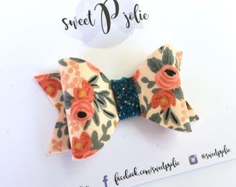 Tan Rifle Paper Co Floral + Gitter Hair Bow // Hair Clip Headband // Large Girls Newborn Baby Toddler Bow