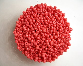 20g pink coral seed beads 8/0 (3mm)