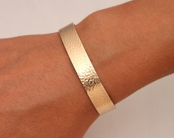 Wide Hammered Cuff Bracelet, 14K Yellow Gold Filled