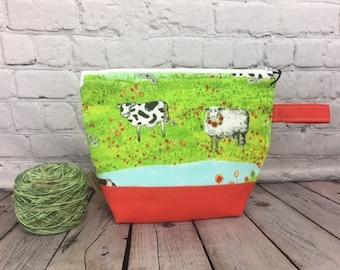 Sheep / Cow Print w/ Full length pocket, Knitting project bag, Crochet project bag,  Zipper Project Bag, Yarn bowl, Yarn tote