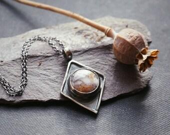 Dendritic Quartz rhombus pendant in sterling silver dendrite