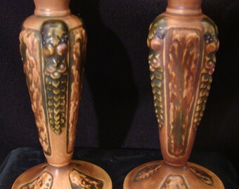 Rare Roseville Florentine # 1049-8 Candle Holders made between 1924 & 1928