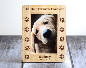 4x6 In Our Hearts Forever Personalized Wood Pet Memorial Picture Frame