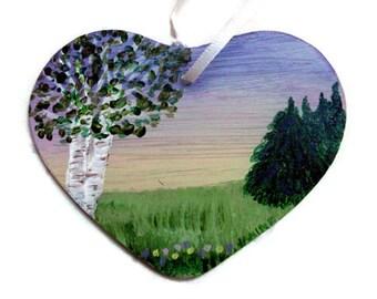 Heart Glass Ornament & Suncatcher - birch ornament, heart ornament, purple ornament, glass suncatcher