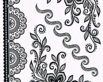 Temporary tattoos Black Lace YHB013 21 X 14.5 CM