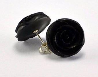 Black Rose Earrings with .925 Sterling Silver Stud Loop Posts - Large