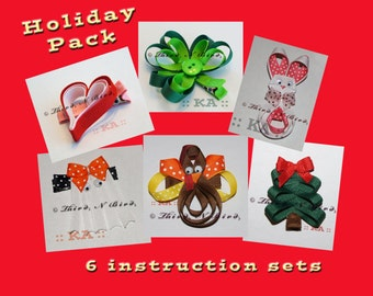 6 Pack - Holiday Hair Clip Ribbon Sculpture Instruction Set