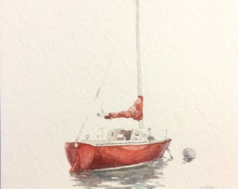 Little Red Sailboat
