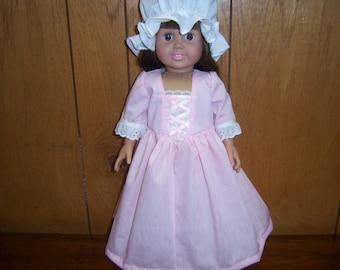 "18"" Colonial Doll Dress + Mob Cap--Fits American Girl Dolls & Similar, Colonial, Williamsburg, Christmas, Gift, Pink Dress, Birthday"