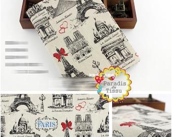 1 x coupon 50x145cm paris heart print pattern pure linen fabric