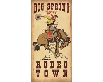 Big Spring Texas Rodeo Bronc Rider Poster, Boy's room decor, Children's Art