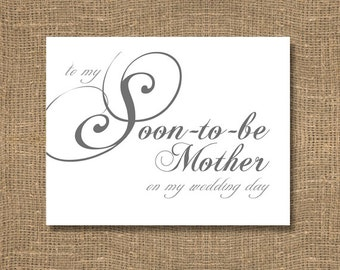 To My Soon To Be Mother on My Wedding Day - Wedding Card