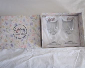 2 Boxed WEDDING ANNIVERSARY glasses by Fiesta. Wine/sherry etc