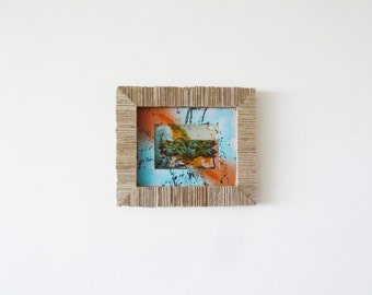 Upcycled Graffiti Wall Art Canvas - Original Mixed Media Painting - Cardboard Frame - Green Blue Orange Black Color Splash