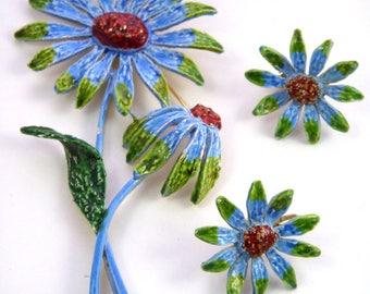 ART Signed Vintage Enamel Brooch Earrings Set