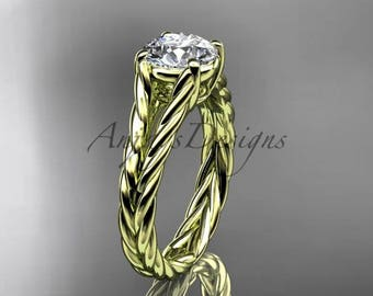 "Unique 14kt yellow gold twisted rope engagement ring with a ""Forever One"" Moissanite center stone RP8108"