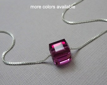 Fuschia Crystal Cube Necklace, Hot Pink Necklace, Fuschia Wedding Necklace, Bridesmaid Necklace, Flower Girl Necklace, Fuschia Jewelry