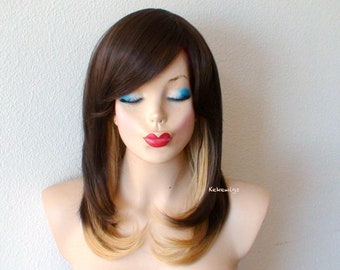 Ombre wig. Brown /golden blonde wig. Medium length ombre hair  wig. Heat resistant synthetic wig