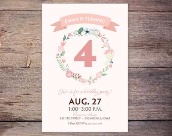 Pink Floral Birthday Party Invitation, Birthday Invite, Shabby Chic Girl Birthday Party wreath of flower DIY Printable custom - Emma
