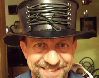 Leather gambler hat with corset - shortened mad hatter style!