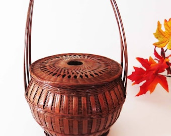 "Antique ASIAN BAMBOO Hand-Woven WEDDING - Food - Sewing Basket / 15"" Tall Asian - Chinese Utility Storage Basket /Asian Decor-Housewarming"