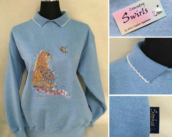 Cat sweater with collar , vintage Blue colour sweatshirt , cat & butterfly embroidery designed by Sophie Appleton contemporary artist