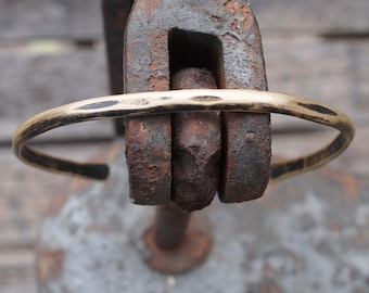 8th Anniversary Gift, Men's Rustic Bronze Cuff with Initials