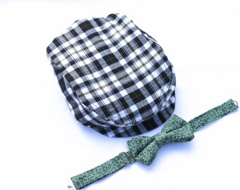Boys Black Plaid Newsboy Hat, Boys Flat Hat, Boys Newsboy Cap, Infant Hat, Toddler Hat, Boys Golf Hat,  Ring Bearer Outfit, Boyish Charm