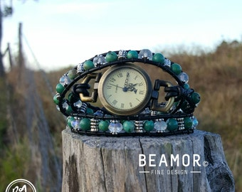 Turquoise triple leather wrap Watch