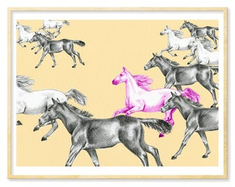 Horse Art, Equestrian Gift, Illustration Print, Horses, Girl Horse Decor, Gift for Horse Lover, Horse Art Print, Giclee Print, 8.5x11, 11x14