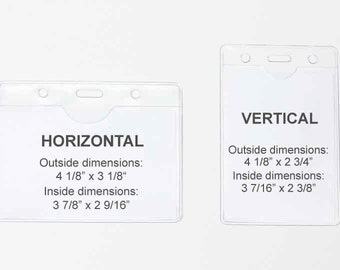 Clear Badge Holder, Lanyard Badge ID Plastic Holder, Vinyl Card Sleeve - Vertical or Horizontal