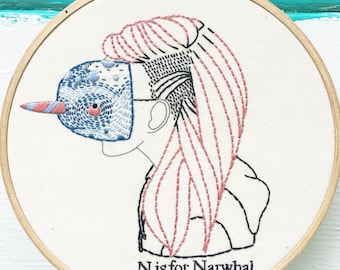 Hand Embroidery Kit, D.I.Y. Embroidery kit, Narwhal Embroidery Kit