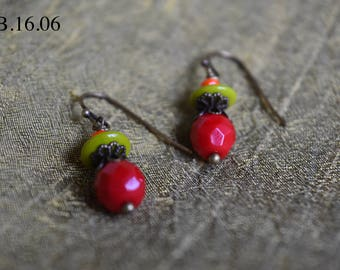 Christmas Red and Chartreuse Czech Glass Drop