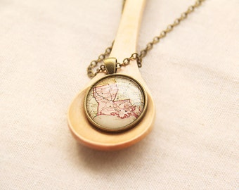State Map Necklace - Louisiana, United States -Vintage Map Series (MS14)