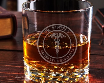 Engraved Whiskey Glass for Doctors and Nurses - Medical Arts Design with Buckman Glass - Handsome Personalized Glasses - Retirement Gifts