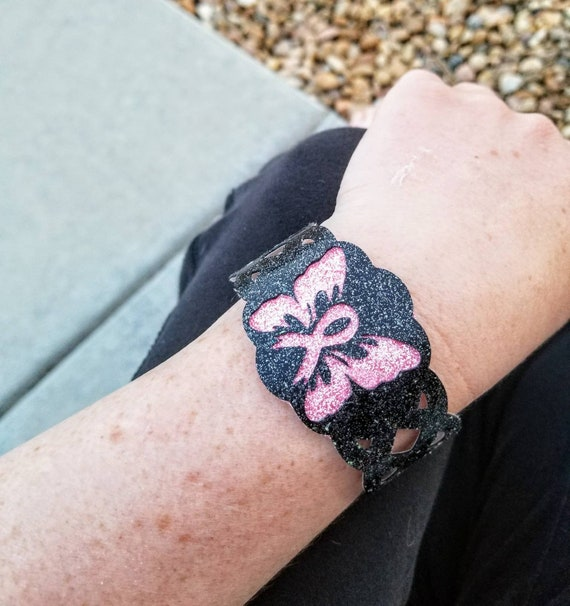 Sparkle Vinyl Cuff Bracelet - Layered Awareness Butterfly. Choose your color.