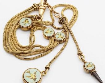 Victorian Watch Fob Albert Chain Necklace Locket 18k Gold Falize Enamel (#6091)