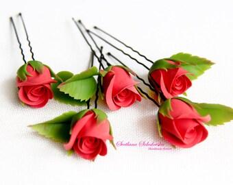 Bridal hairpin bride flower hairpin  Wedding accessories Bridesmaid headpiece rose hairpin  rose Hair Piece red rose hairpins
